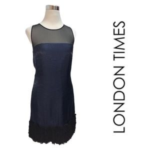 NWT LONDON TIMES Navy Dress with Detail